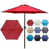 Blissun 7.5 ft Patio Umbrella, Yard Umbrella with Push...