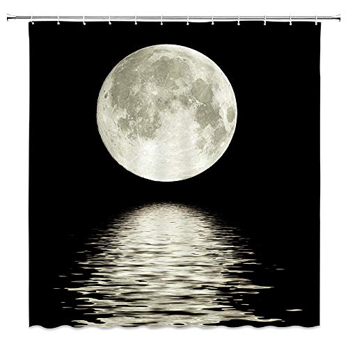 XZMAN Full Moon Shower Curtain Ocean Night Scenery Sea Water Super Moon Astronomy Black Polyester Bathroom Home Decor Set 70 x 70 Inches Include Hooks