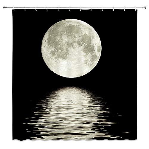 XZMAN Full Moon Shower Curtain Ocean Night Scenery Sea Water Super Moon...