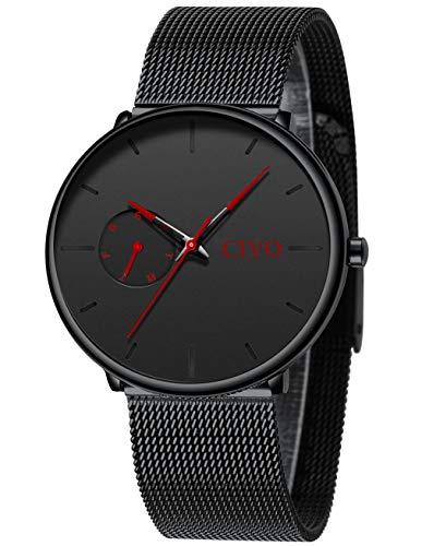 CIVO Relojes Hombre Ultra Fino Militar Negro Acero Inoxidable Impermeable Relojes de Pulsera Deportivo Analogicos Fecha
