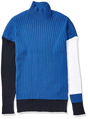 A|X Armani Exchange Men's Mock Neck Ribbed Cotton Pullover, True Blue/Navy, M