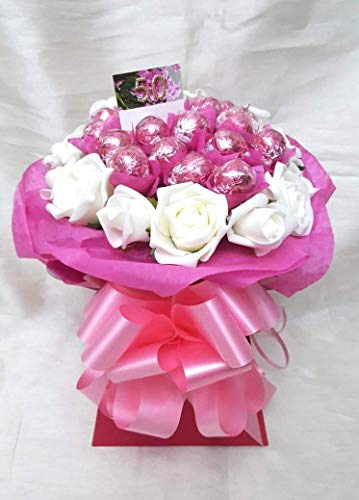 Chocolate Bouquet Personalised Luxury Pink Lindt Lindor - Sweet Gift Hamper