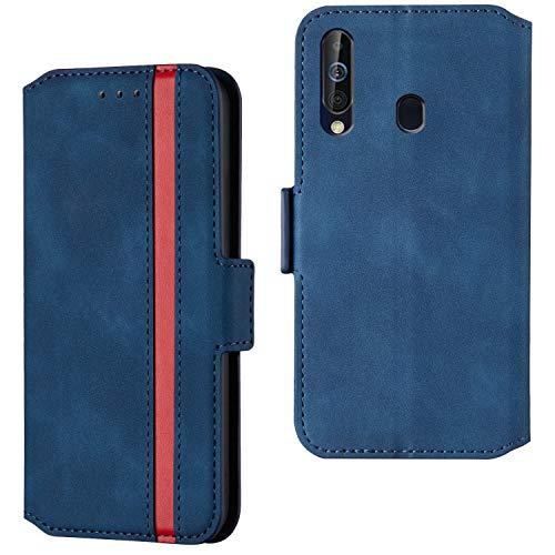HHUIWIND Hülle für Samsung Galaxy A20s Leder + Panzerglas,Handyhülle Samsung Galaxy A20s,Schutzhülle Handytasche Klapphülle Streifen Hülle mit Kartenfächer für Samsung Galaxy A20s-Blau01
