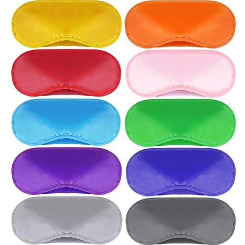 Mudder 10 Pack Eye Mask Shade Cover Blindfold Travel Sleep Cover with Nose Pad (multicolor)