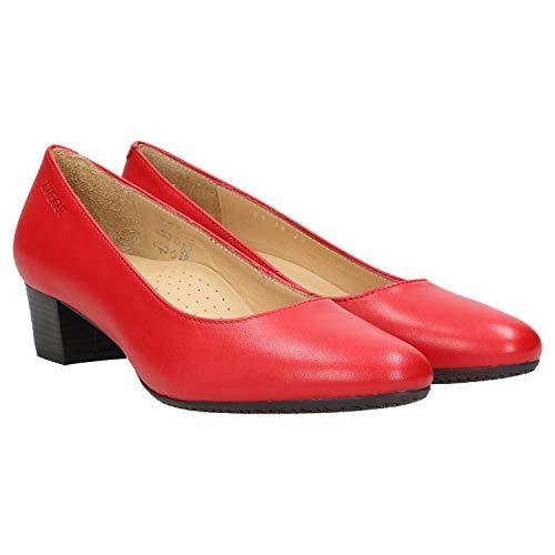 Zweigut® -Hamburg- smuck #213 Damen Leder Pumps - Flacher Absatz - weich - Nappaleder Sommer Business Schuhe Komfort Laufsohle, Schuhgröße:39, Farbe:rot