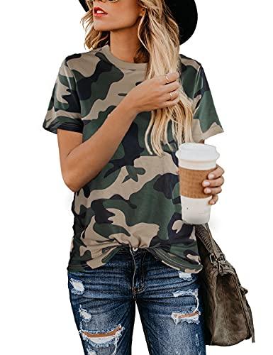 Blooming Jelly Damska bluzka z nadrukiem w panterkę krótki rękaw okrągły dekolt koszulka podstawowa codzienna