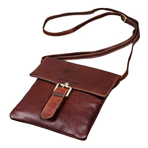 STILORD 'Julia' Compacto Bolso de Cuero Estilo Vintage para Mujer Bolsa Bandolera o de Hombro pequeño para Salir Fiesta Diario Trabajo de Piel auténtica, Color:Cognac marrón Oscuro