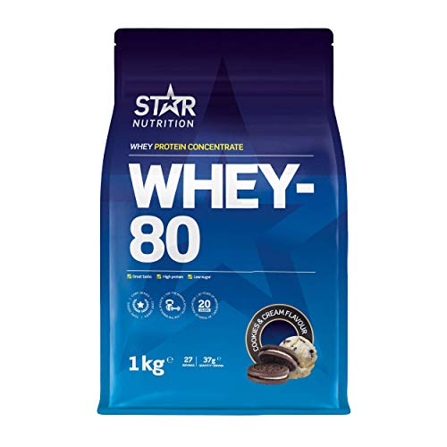 Star Nutrition | Whey 80 | Pure Concentrated Diet Whey Protein Powder with High Protein & Low Sugar | Protein Powders for Perfect Protein Shakes | Cookies & Cream Flavor | 1Kg