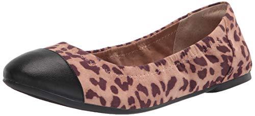 Amazon Essentials Gorra de Mujer Ballet Bailarinas Planas, Leopard Micro/Black PU, 36 EU
