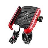 YGL Universale Alluminio Porta Cellulare Motocon con Porta di Ricarica USB, 360 °Regolabile Compatibile da 3,5-6 Pollici Telefono Moto Supporto Smartphone per Scooter Moto Bicicletta(Rosso)