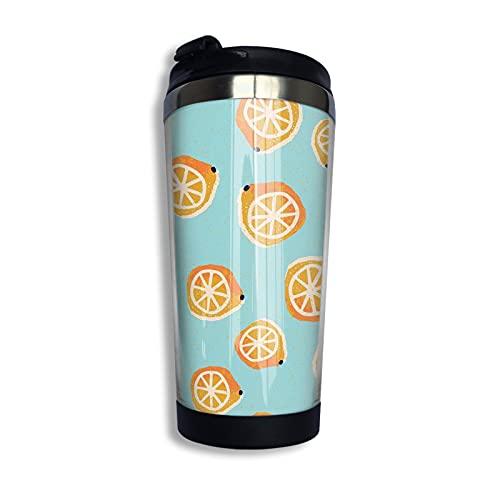 LYYNBLA Taza de viaje naranja de acero inoxidable taza de café aislada taza de viaje coche reutilizable tazas de café con tapa 400 ml