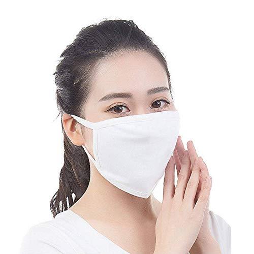 Unisex Baumwollmaske 10 Stück weiß schwarz zweilagig atmungsaktiv Sonnenschutz Winddicht grau Baumwolle Maske kälte- und staubdicht, weiß