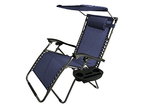 Akari Decor Extra Large Oversized XL 3pcs Zero Gravity Chair Patio Adjustable Recliner with Canopy Sunshade and Cupholder (Blue)