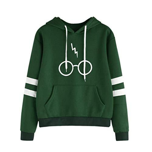 Hanyixue Mujeres Camisetas Manga Larga Varsity Gafas de Harry Potter Encapuchado Camisa de Entrenamiento Sudaderas con Capucha Sweatshirt Tops (XL, Verde)