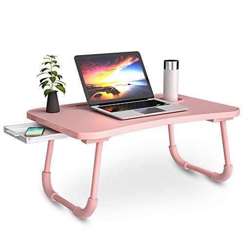 Daover Tavolo Laptop, Tavolo per notebook, Pieghevole Tavolo per computer portatile,Supporto PC Portatile con Gambe Pieghevoli per Divano,con fessura per tazza,per Lletto/Divano/Pavimento (60*40*30cm)