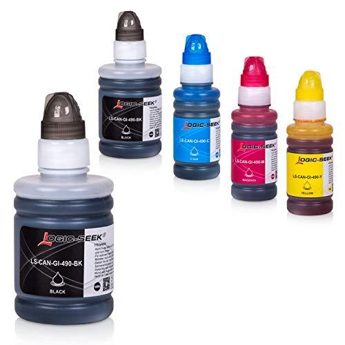 Logic-Seek 5 Tintenbehälter kompatibel mit Canon GI-590 / GI-490 für Canon Pixma G1400 G1500 G2400 G2500 G3400 G3500
