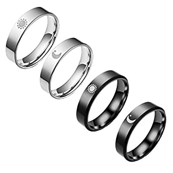yfstyle 4PCS Sun Moon Rings Set Stainless Steel Rings for Women Men Sun and Moon Band Plain Rings for Couples Stainless Steel Wedding Rings Sun And Moon Rings for Best Friends-sun moon-10