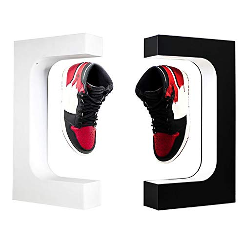 Pantalla De Zapato Levitante Flotante Magnético, Soporte De Soporte De Levitación De 360 Grados, Soportes De Exhibición De Acrílico con Iluminación LED,Blanco