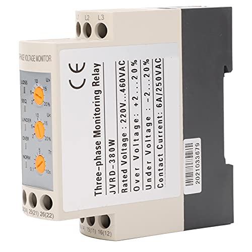 CA 220-460V Protector de sobretensión, relé de protección de voltaje, relé de secuencia de monitor trifásico ajustable JVRD-380W para bombas de agua, compresores de aire, grúas, elevadores, elevadores