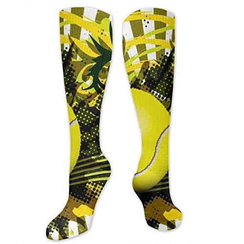 jhuulse 1124 Kniestrümpfe Tennisball Art Design Kompressionsstrümpfe Sport Sportstrümpfe Schlauchstrümpfe Lange Socken Lustige personalisierte Geschenksocken für Männer Frauen