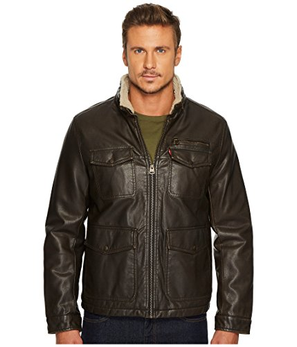 Levi's Men's Faux Leather Four-Pocket Sherpa Lined Military Jacket Dark Brown Large