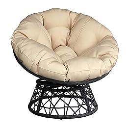 ATR ARTTOREAL Papasan Coussin de chaise de patio en forme d'œuf pour extérieur Coussin épais Coussin de chaise suspendu…