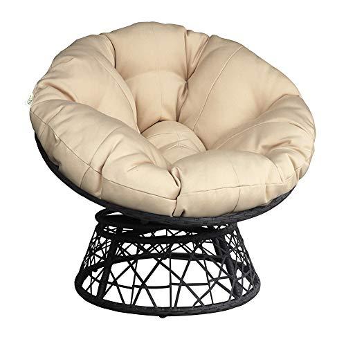 ATR ARTTOREAL Swivel Papasan Chair Thickness Cushions, Indoor Outdoor Furniture Chair Deep Seating Moon Chair Glider, Solid Twill Fabric Khaki Cushion (Khaki)