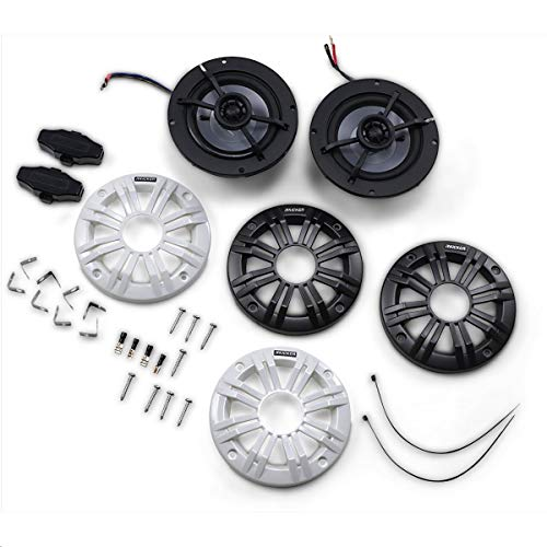 Kicker 45KM44 Universal Weatherproof Coaxial 4 Inch 4-Ohm Audio Speakers with Charcoal and White Grilles, Pair