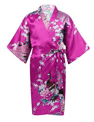 dPois Enfant Fille Peignoir Satin Pyjama Kimono Robe Satin Japonais Chemise de Nuit Anniversaire Cadeau Robe de Chambre Vêtements de Nuit Fleur de Paon Imprimé 3-14 Ans Rose Rouge 9-11 Ans