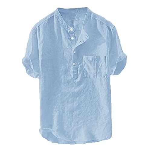 Verano de los Hombres holgados Algodón Cáñamo Botón de Manga Corta Más el Tamaño de la Camisa Tops Blusa