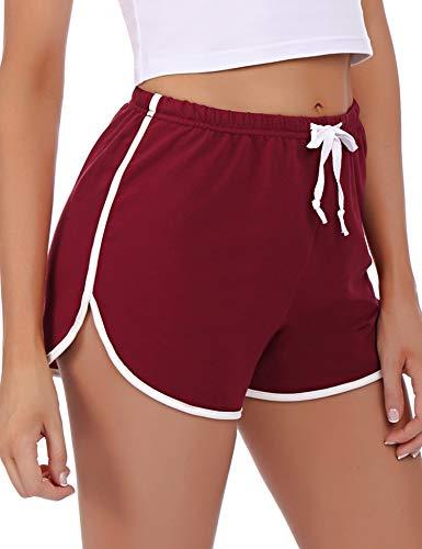 Abollria Damskie szorty, piżamy, krótkie spodenki do spania, spodnie sportowe, bawełna, spodnie piżamowe, krótkie spodnie, do jogi, biegania, na siłownię, elastyczne