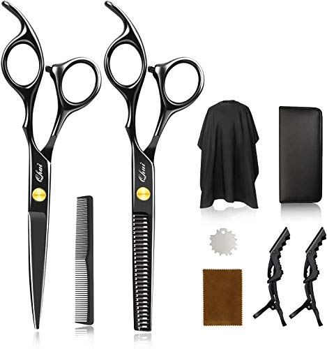 Telgoner Haarschere Set, 2 Extra Scharfe Haarschneideschere mit Haarschneideumhang, Licht Friseurscheren mit Einseitiger Mikroverzahnung, Perfekter Profi Effilierschere für Damen, Herren und Kinder