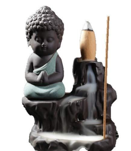 HighQuality standard Buddha Harmonischer Räucherstäbchenhalter mit kleinem Wasserfall als Rückfluss Zimmerbrunnen(Grün)