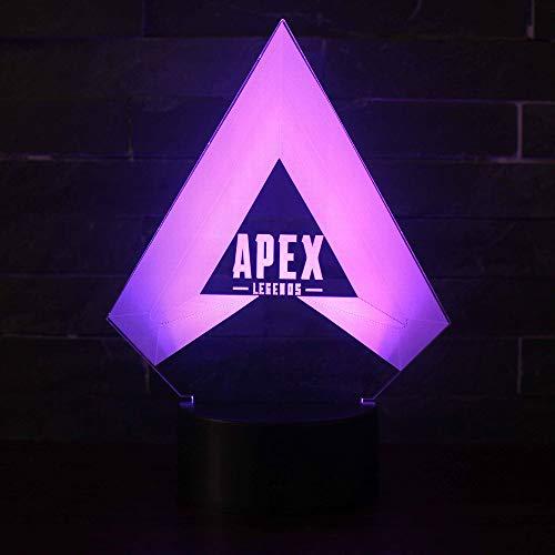 3D Lampe Illusion Optique LED Veilleuse, CKW 7 Couleurs Tactile Lampe de Chevet Chambre Table Art Déco Enfant Lumière de Nuit avec Câble USB Nouveauté De Noël Cadeau d'anniversaire (M)