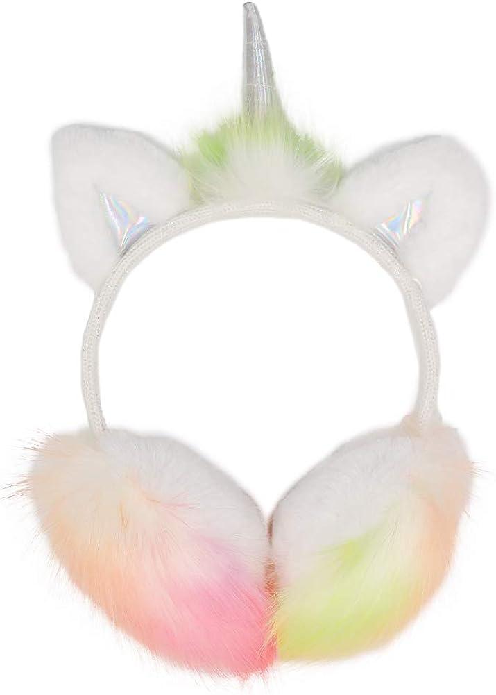 CHUANGLI Winter Kids Unicorn Earmuffs Cute Cartoon Ear Plush Ear Warmers Adjustable Earflap for Girls