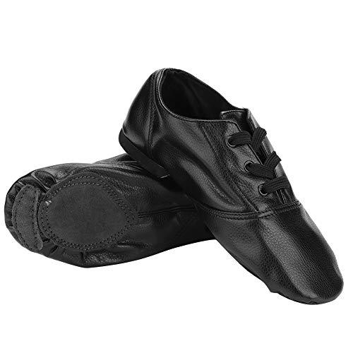 Ponacat Jazz Dance Shoes Black PU Dancewear Training Practice Dance Shoes Child Adult