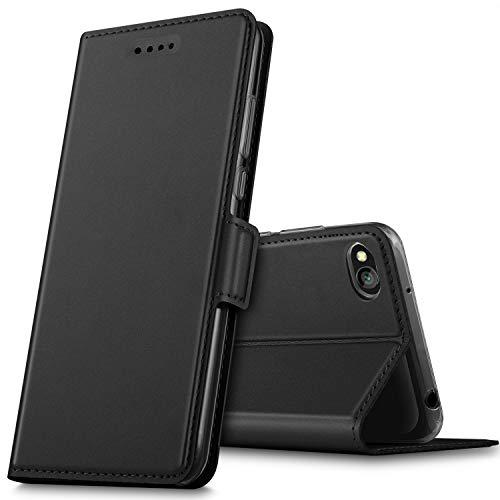 GEEMAI Diseño para Xiaomi Redmi Go Funda,Protectora PU Funda Multi-ángulo a Prueba de Golpes y Polvo a Prueba de Silicona con Soporte Plegable Apto para Xiaomi Redmi Go Smartphone. (Negro)