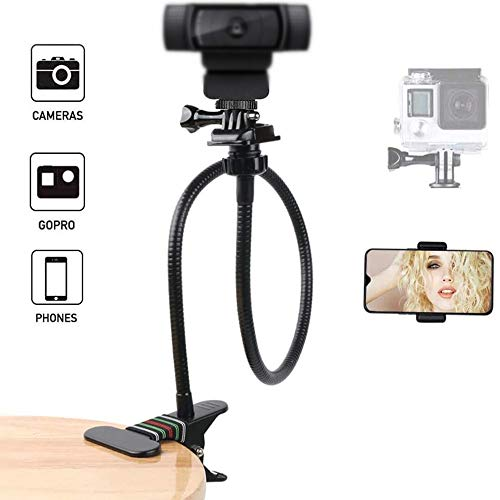 26-Inch Desk Webcam Stand/Camera Gooseneck Mount with Gopro Adapter and Universal Phone Clamp for Gopro Hero 8/7/6/5,Logitech C930e, C920, C922, C930, Brio 4K