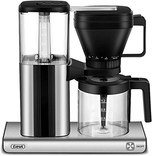10-Cup Coffee Maker with Warming plate and Auto-off function, Drip Coffee Machine with 1.25L/42oz Clear Water Reservoir, Removable Filter, Anti-Dry Burning Function, Silver, 1550W