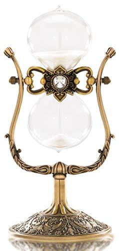 Sanduhr Timer Sanduhr 60 Minuten Antike 1 Stunde Glas Sanduhr für Dekoration 360° Drehbar Groß Messing Vintage Sanduhr
