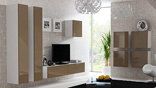 Wohnwand \' Vigo 24\' Hochglanz Hängeschrank Lowboard Cube , Farbe:Weiß . Latte