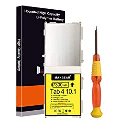 """☎【Brand New Battery 】: MAXBEAR Replacement battery for Samsung Galaxy Tab 4 10.1"""" , bring life back to your phone with a replacement battery. Make your tablet pad acting like a brand new ☎【Top Quality Battery】: Made of grade A premium battery cells, ..."""