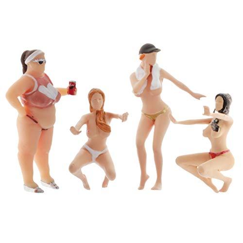lahomia 4pcs 1/64 Personen Figur Bikini CAR WASH Modell DIY Layout Landschaft ACCS