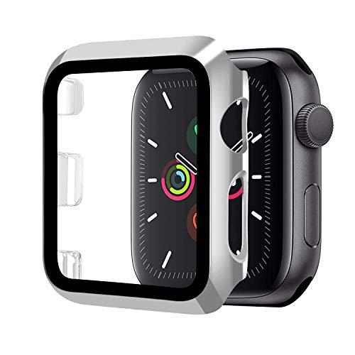Funda Compatible con Apple Watch 42mm Serie 3/2/1+Cristal Templado, Qianyou PC Case y Vidrio Protector Pantalla Integrados, Anti-Rasguños Slim Bumper Case Cover para iWatch 42mm 1/2/3 (Plata)