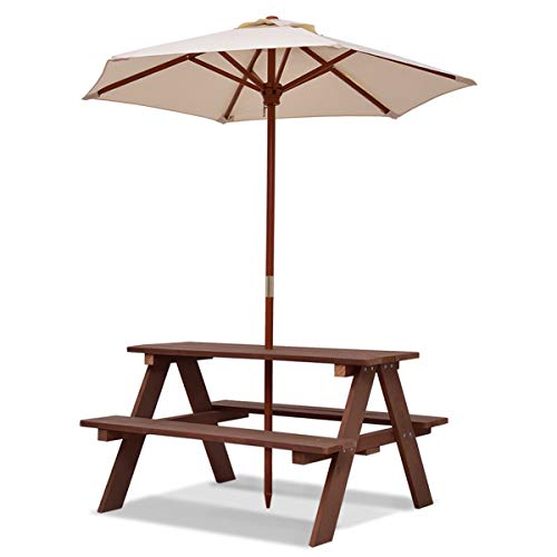 Costzon Kids Picnic Table Set, Wood Table and Bench Set with Removable & Foldable Umbrella, Sturdy Structure, Children Activity Table for Garden, Yard, Lawn, for Boys & Girls (Walnut)