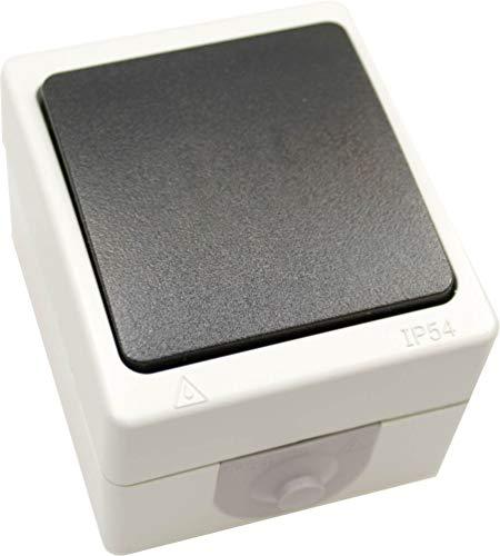 Schalter Feuchtraumschalter Ausschalter Wechselschalter IP54 Aufbau Aufputz grau