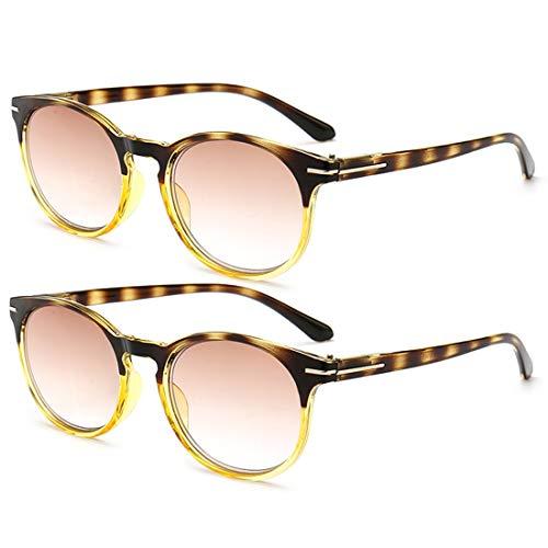 IOSHAPO Mode 2-pack Leesbrillen Ronde Stijlvolle Leesbrillen Combineer met Veerscharnier voor Lezen voor Heren en Dames