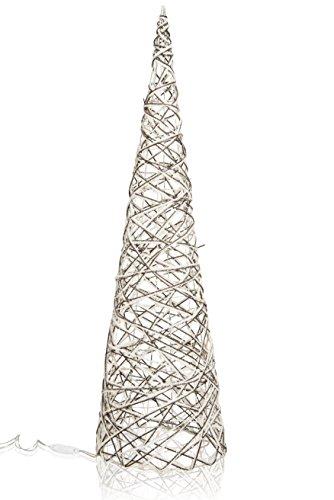 CHICCIE Deko Pyramide aus Weide mit Wolle - 100cm - Beleuchtet Weihnachten