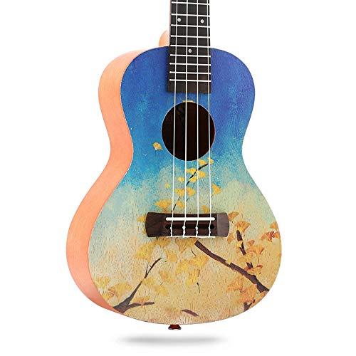KEPOHK 23 Zoll bemalte Ukulele Mini-Gitarre 4-saitiges Palisander Griffbrett Mahagoni Top Fichte Anfängerkonzert 23 Zoll 01