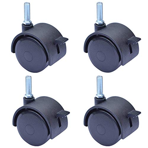 2 Inch Stem Casters with Brake, Swivel Caster Wheels Brake Locking Locks,Screwed Bolt 5/16